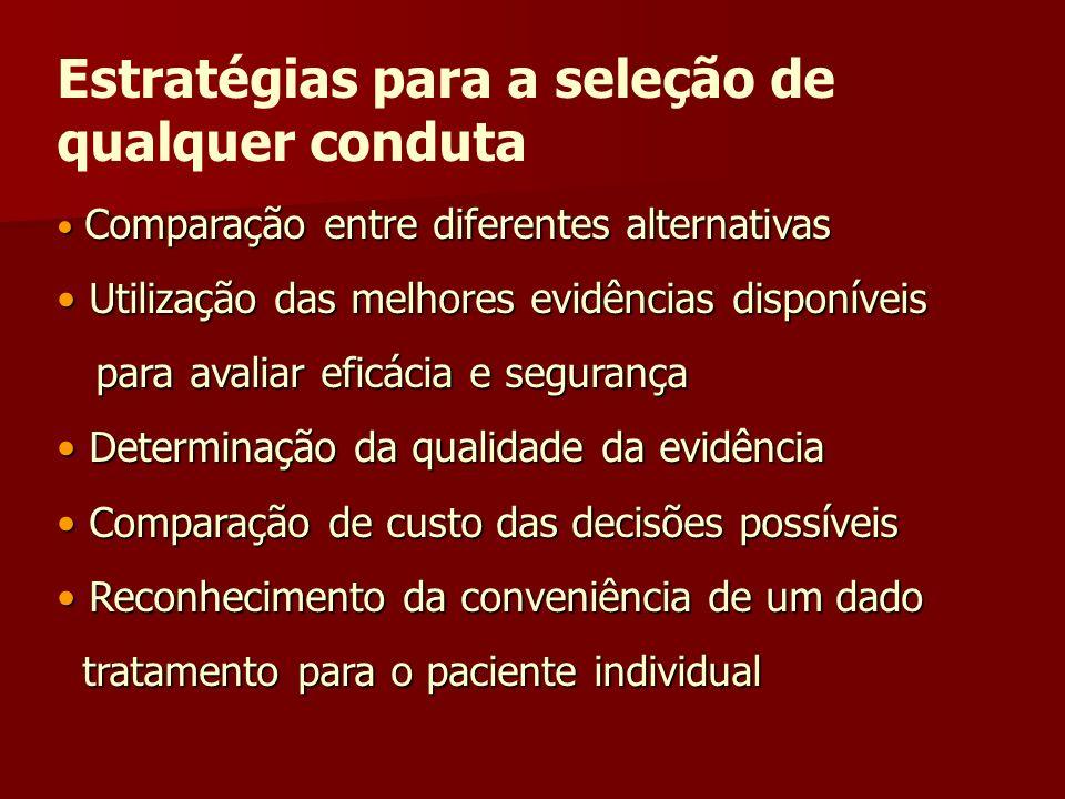 Estratégias para a seleção de qualquer conduta Comparação entre diferentes alternativas Comparação entre diferentes alternativas Utilização das melhor
