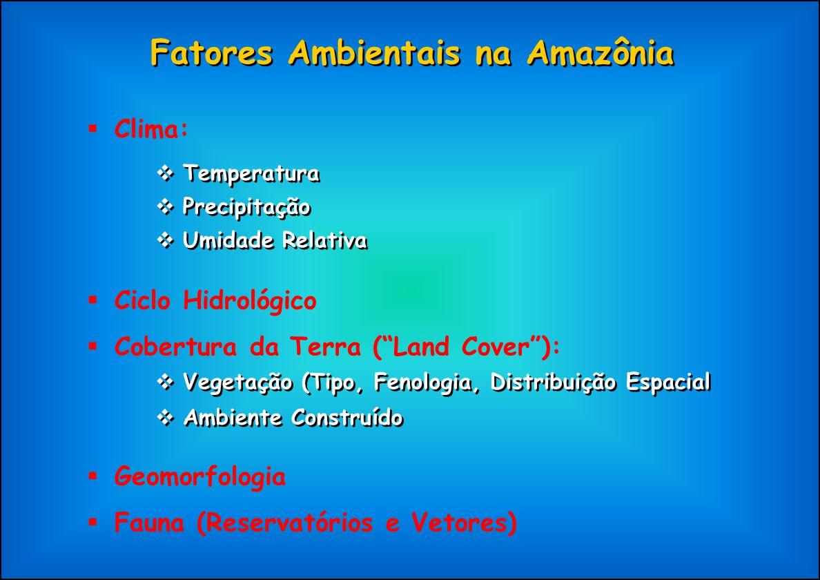Fatores Ambientais na Amazônia Clima: Temperatura Precipitação Umidade Relativa Ciclo Hidrológico Cobertura da Terra (Land Cover): Ambiente Construído