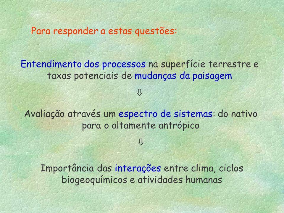 Para responder a estas questões: Entendimento dos processos na superfície terrestre e taxas potenciais de mudanças da paisagem Avaliação através um es