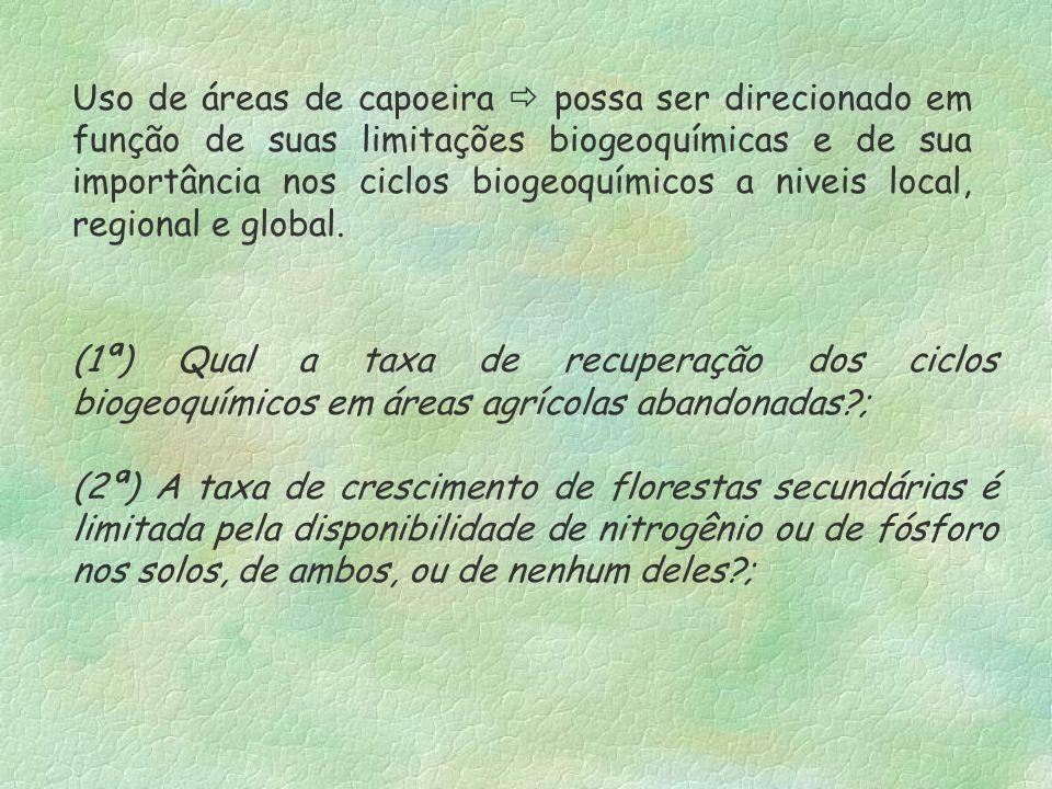 Uso de áreas de capoeira possa ser direcionado em função de suas limitações biogeoquímicas e de sua importância nos ciclos biogeoquímicos a niveis loc
