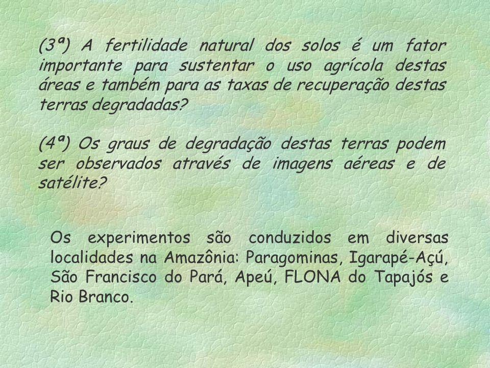 (3ª) A fertilidade natural dos solos é um fator importante para sustentar o uso agrícola destas áreas e também para as taxas de recuperação destas ter