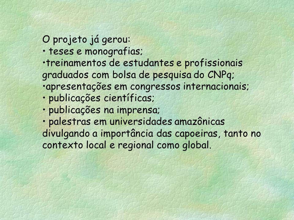 O projeto já gerou: teses e monografias; treinamentos de estudantes e profissionais graduados com bolsa de pesquisa do CNPq; apresentações em congress