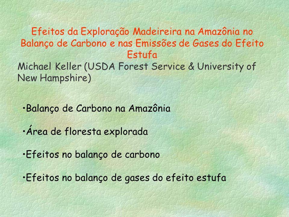Efeitos da Exploração Madeireira na Amazônia no Balanço de Carbono e nas Emissões de Gases do Efeito Estufa Michael Keller (USDA Forest Service & Univ