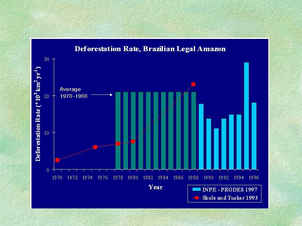 Incertezas no balanço de carbono Área Desmatada (0.05 Pg-C) Densidade de Biomassa (0.2 Pg-C) Exploração Queimadas Crescimento da floresta primária Regeneração da floresta secundária Extração convencional x seletiva