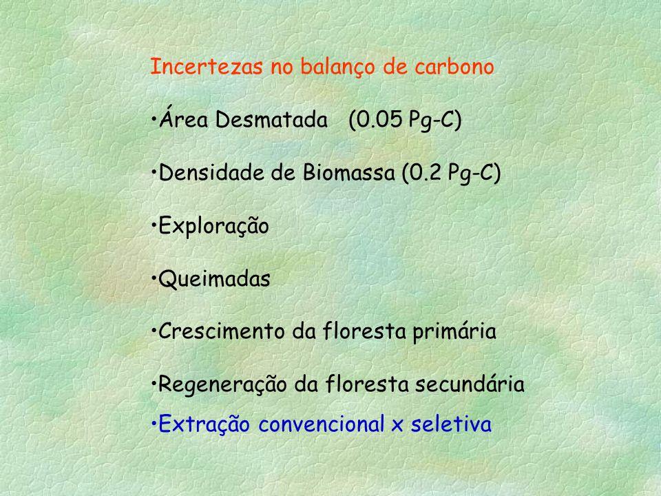 Incertezas no balanço de carbono Área Desmatada (0.05 Pg-C) Densidade de Biomassa (0.2 Pg-C) Exploração Queimadas Crescimento da floresta primária Reg