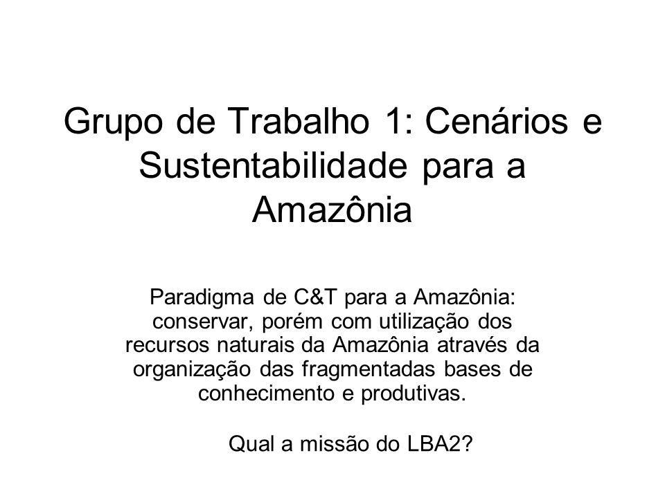 Grupo de Trabalho 1: Cenários e Sustentabilidade para a Amazônia Paradigma de C&T para a Amazônia: conservar, porém com utilização dos recursos natura