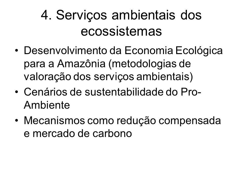 4. Serviços ambientais dos ecossistemas Desenvolvimento da Economia Ecológica para a Amazônia (metodologias de valoração dos serviços ambientais) Cená