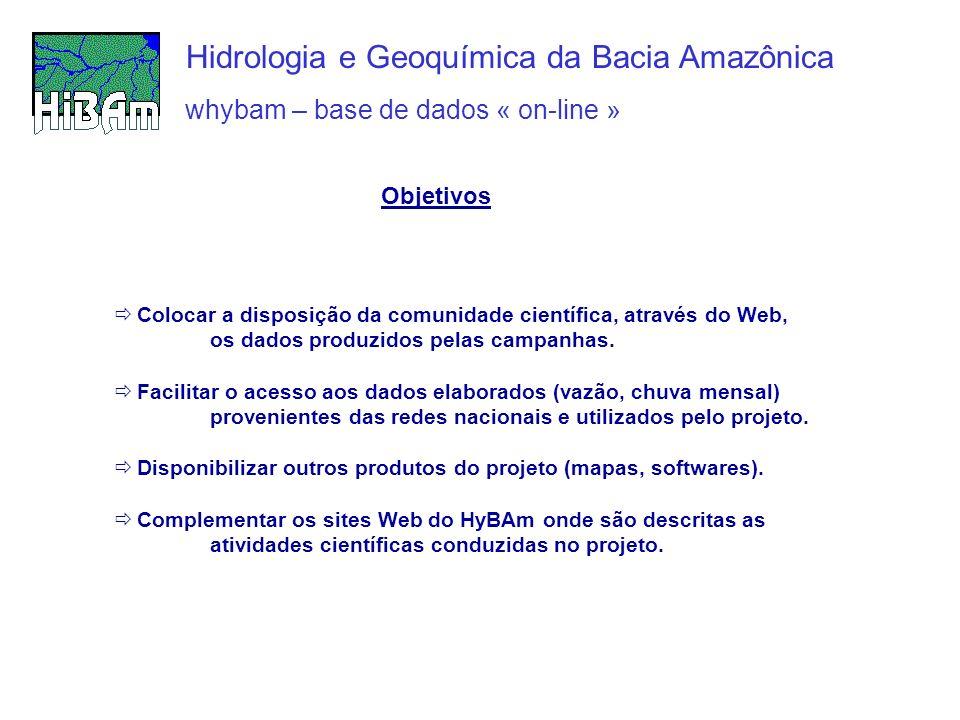 whybam – base de dados « on-line » Hidrologia e Geoquímica da Bacia Amazônica Colocar a disposição da comunidade científica, através do Web, os dados