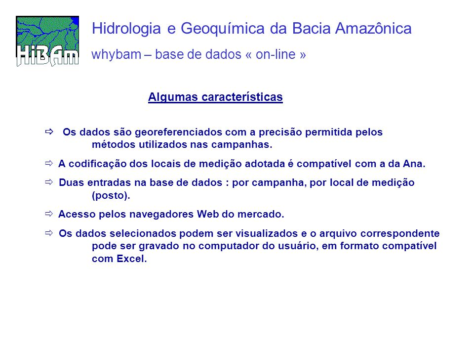 Whybam – base de dados Hidrologia e Geoquímica da Bacia Amazônica