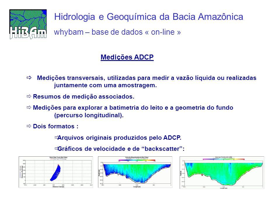 whybam – base de dados « on-line » Hidrologia e Geoquímica da Bacia Amazônica Medições transversais, utilizadas para medir a vazão líquida ou realizad