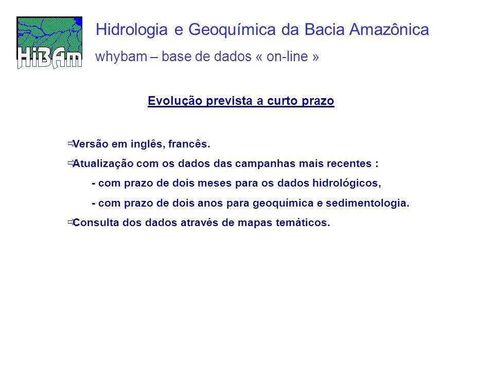 whybam – base de dados « on-line » Hidrologia e Geoquímica da Bacia Amazônica Evolução prevista a curto prazo Versão em inglês, francês. Atualização c