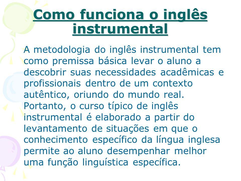 Como funciona o inglês instrumental A metodologia do inglês instrumental tem como premissa básica levar o aluno a descobrir suas necessidades acadêmicas e profissionais dentro de um contexto autêntico, oriundo do mundo real.