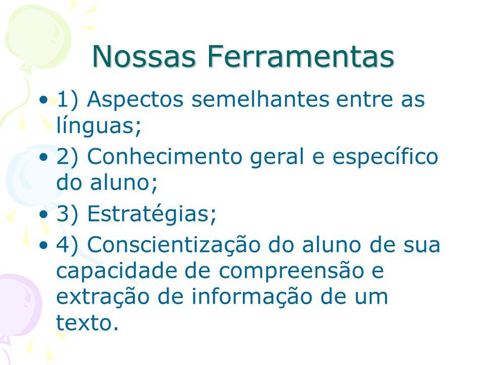 Nossas Ferramentas 1) Aspectos semelhantes entre as línguas; 2) Conhecimento geral e específico do aluno; 3) Estratégias; 4) Conscientização do aluno de sua capacidade de compreensão e extração de informação de um texto.