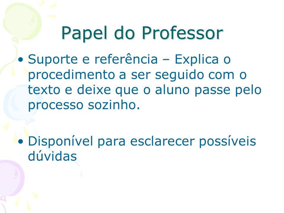 Papel do Professor Suporte e referência – Explica o procedimento a ser seguido com o texto e deixe que o aluno passe pelo processo sozinho.