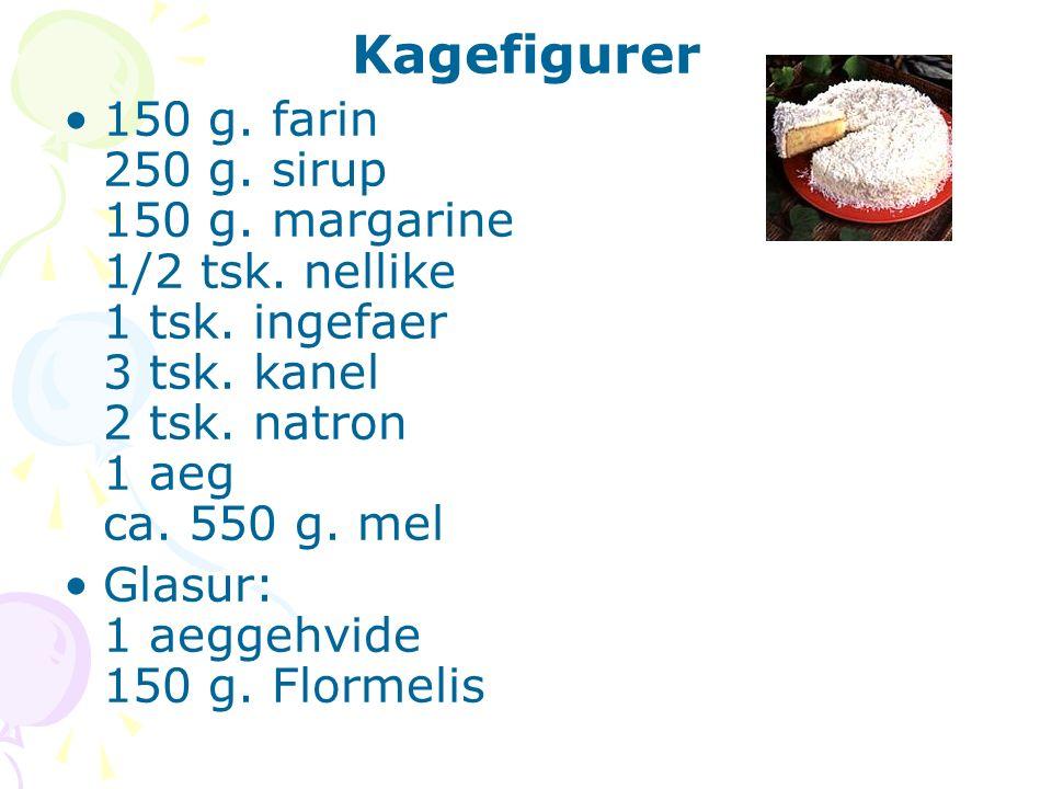 Kagefigurer 150 g. farin 250 g. sirup 150 g. margarine 1/2 tsk. nellike 1 tsk. ingefaer 3 tsk. kanel 2 tsk. natron 1 aeg ca. 550 g. mel Glasur: 1 aegg