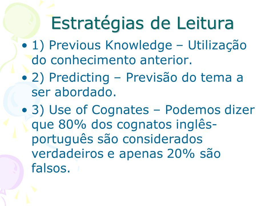 Estratégias de Leitura 1) Previous Knowledge – Utilização do conhecimento anterior. 2) Predicting – Previsão do tema a ser abordado. 3) Use of Cognate
