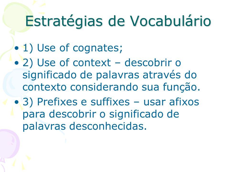 Estratégias de Vocabulário 1) Use of cognates; 2) Use of context – descobrir o significado de palavras através do contexto considerando sua função. 3)