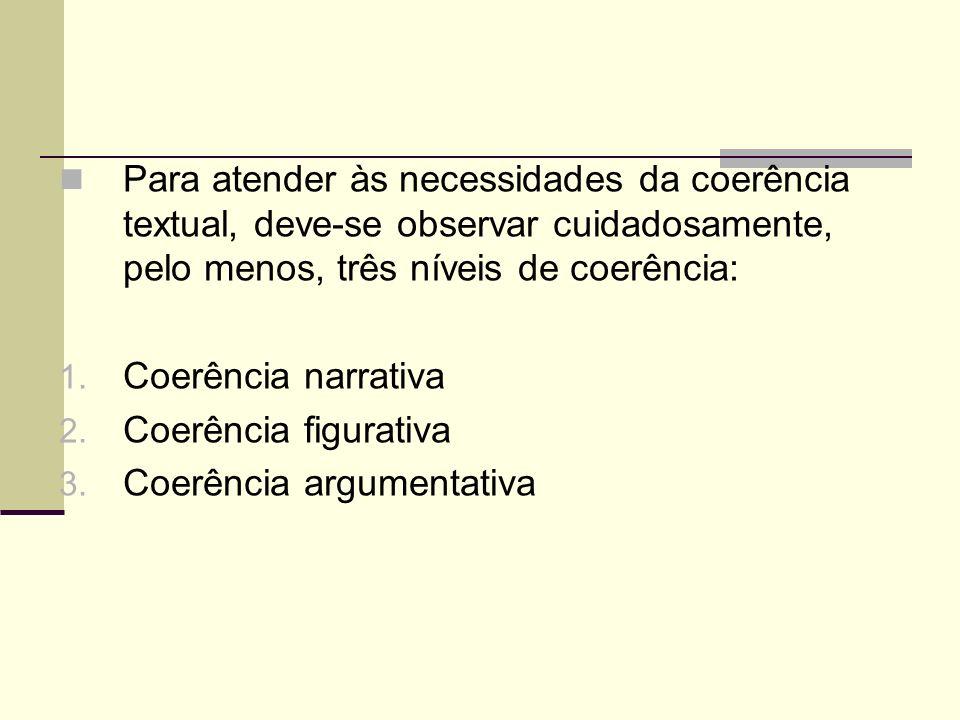 Para atender às necessidades da coerência textual, deve-se observar cuidadosamente, pelo menos, três níveis de coerência: 1. Coerência narrativa 2. Co