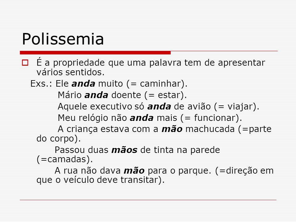 Polissemia É a propriedade que uma palavra tem de apresentar vários sentidos. Exs.: Ele anda muito (= caminhar). Mário anda doente (= estar). Aquele e