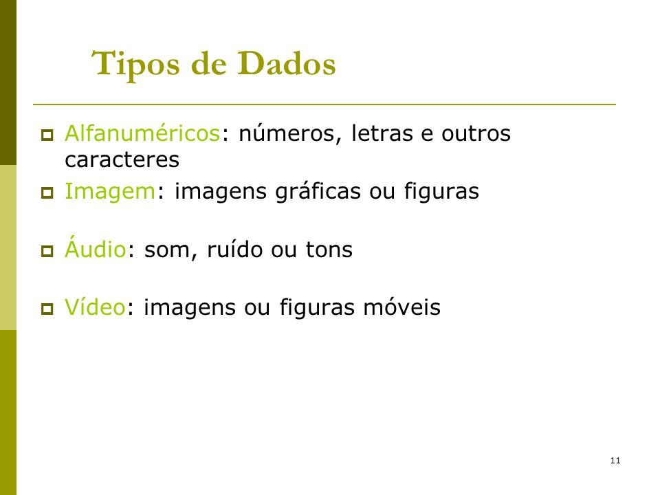 11 Alfanuméricos: números, letras e outros caracteres Imagem: imagens gráficas ou figuras Áudio: som, ruído ou tons Vídeo: imagens ou figuras móveis T
