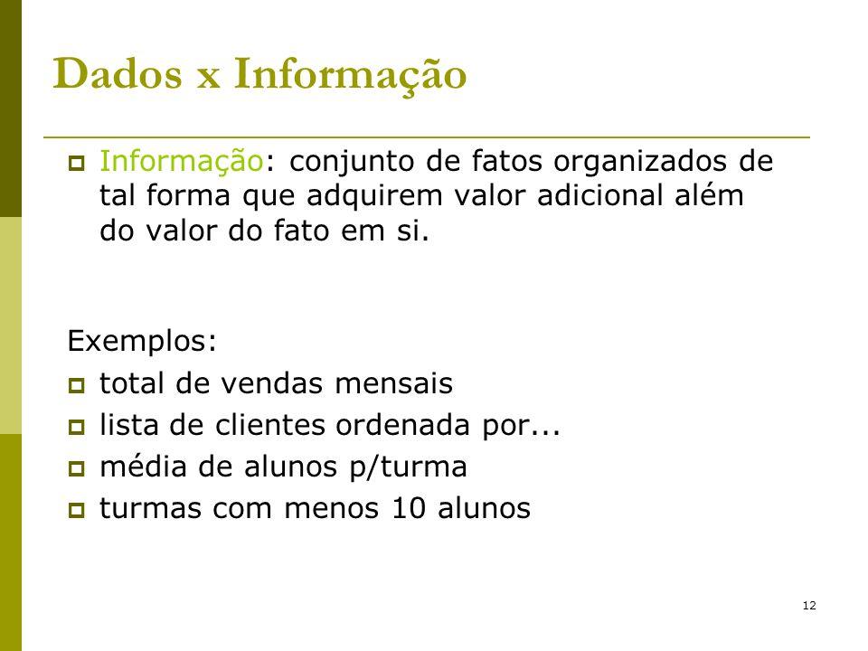 12 Dados x Informação Informação: conjunto de fatos organizados de tal forma que adquirem valor adicional além do valor do fato em si. Exemplos: total