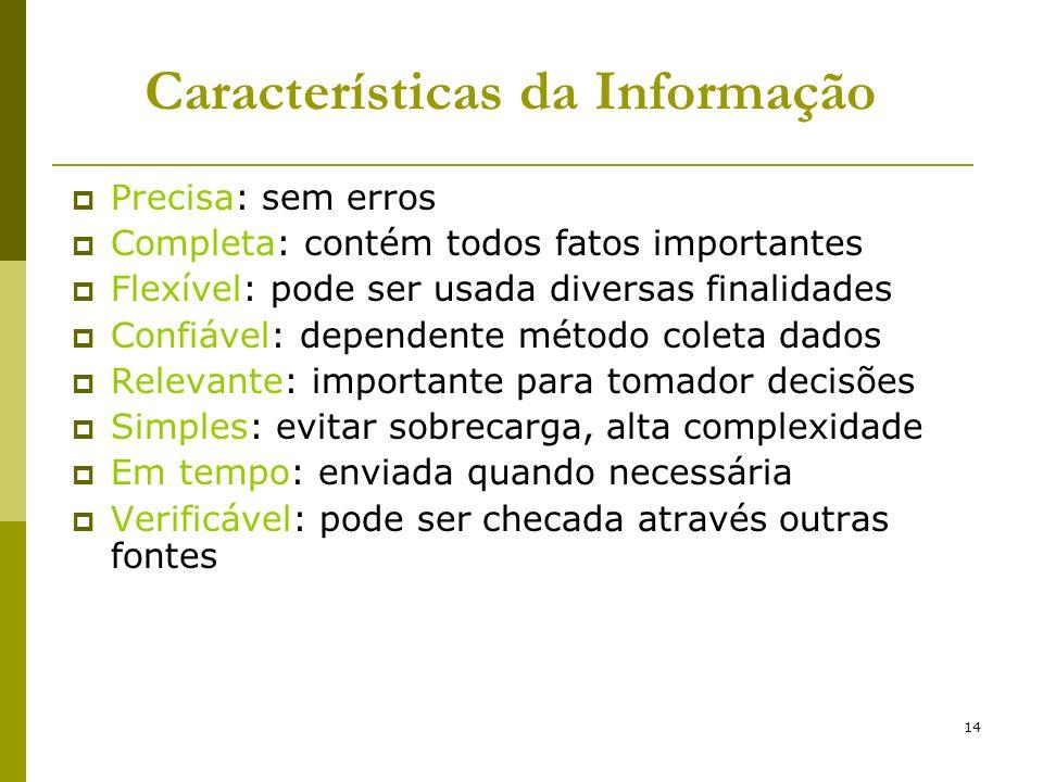 14 Características da Informação Precisa: sem erros Completa: contém todos fatos importantes Flexível: pode ser usada diversas finalidades Confiável: