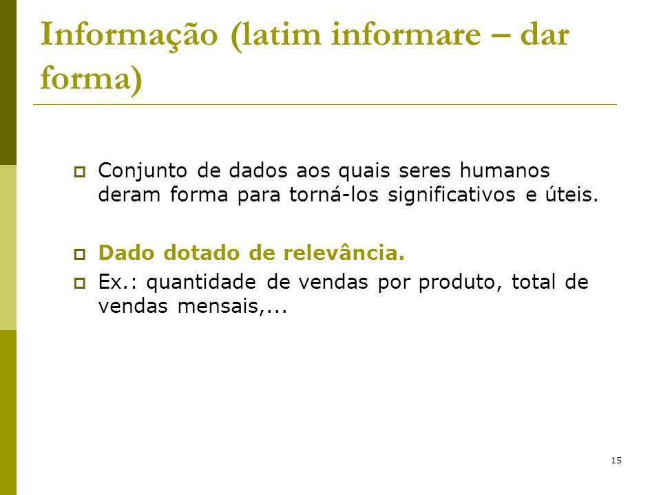 15 Informação (latim informare – dar forma) Conjunto de dados aos quais seres humanos deram forma para torná-los significativos e úteis. Dado dotado d