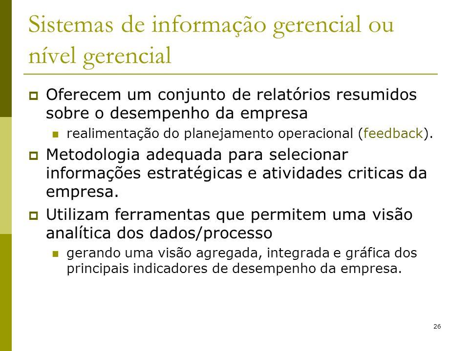 26 Sistemas de informação gerencial ou nível gerencial Oferecem um conjunto de relatórios resumidos sobre o desempenho da empresa realimentação do pla