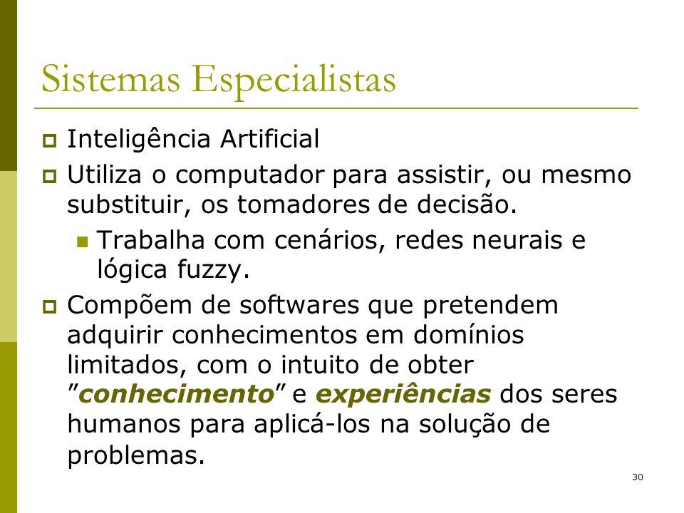 30 Sistemas Especialistas Inteligência Artificial Utiliza o computador para assistir, ou mesmo substituir, os tomadores de decisão. Trabalha com cenár