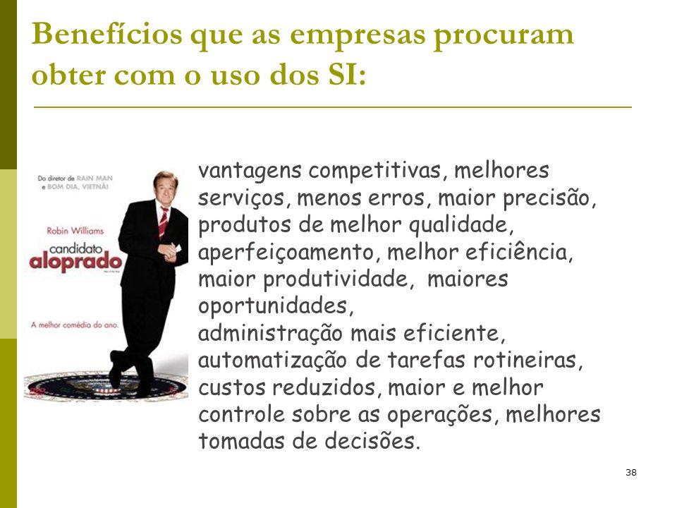38 vantagens competitivas, melhores serviços, menos erros, maior precisão, produtos de melhor qualidade, aperfeiçoamento, melhor eficiência, maior pro