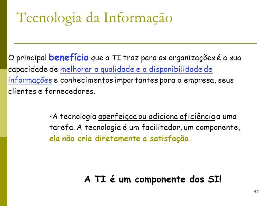 40 Tecnologia da Informação A tecnologia aperfeiçoa ou adiciona eficiência a uma tarefa. A tecnologia é um facilitador, um componente, ela não cria di