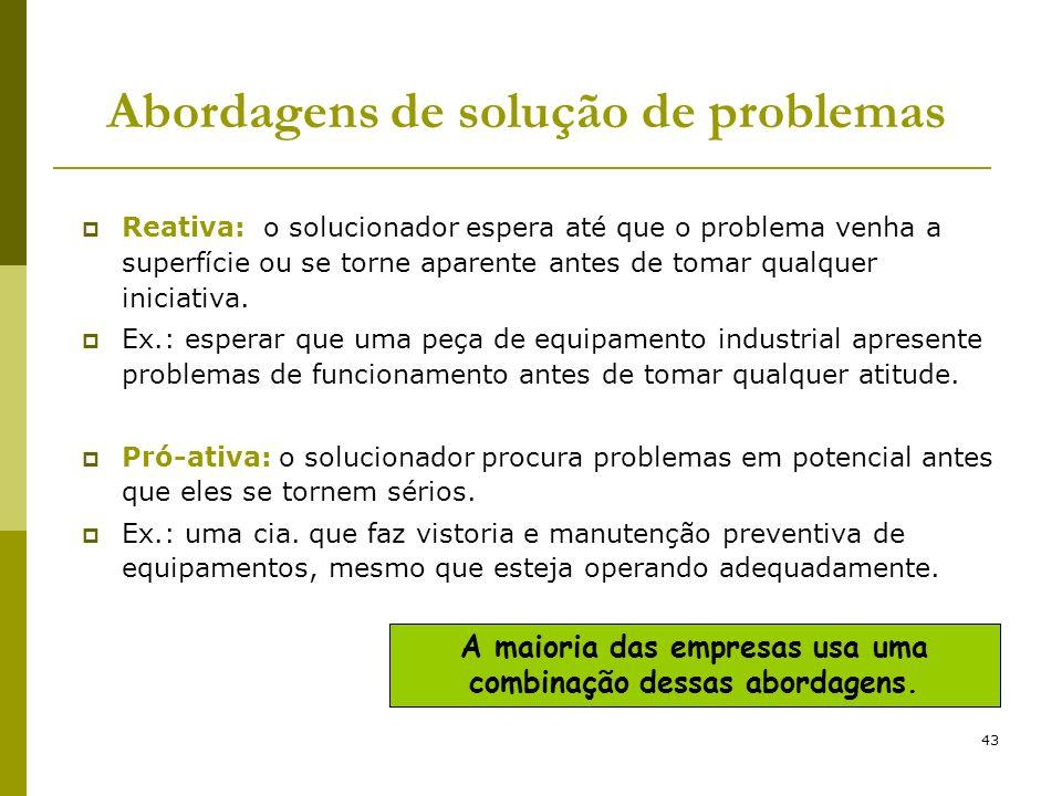43 Abordagens de solução de problemas Reativa: o solucionador espera até que o problema venha a superfície ou se torne aparente antes de tomar qualque