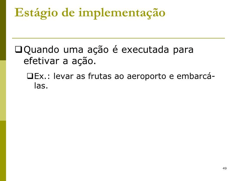 49 Estágio de implementação Quando uma ação é executada para efetivar a ação. Ex.: levar as frutas ao aeroporto e embarcá- las.