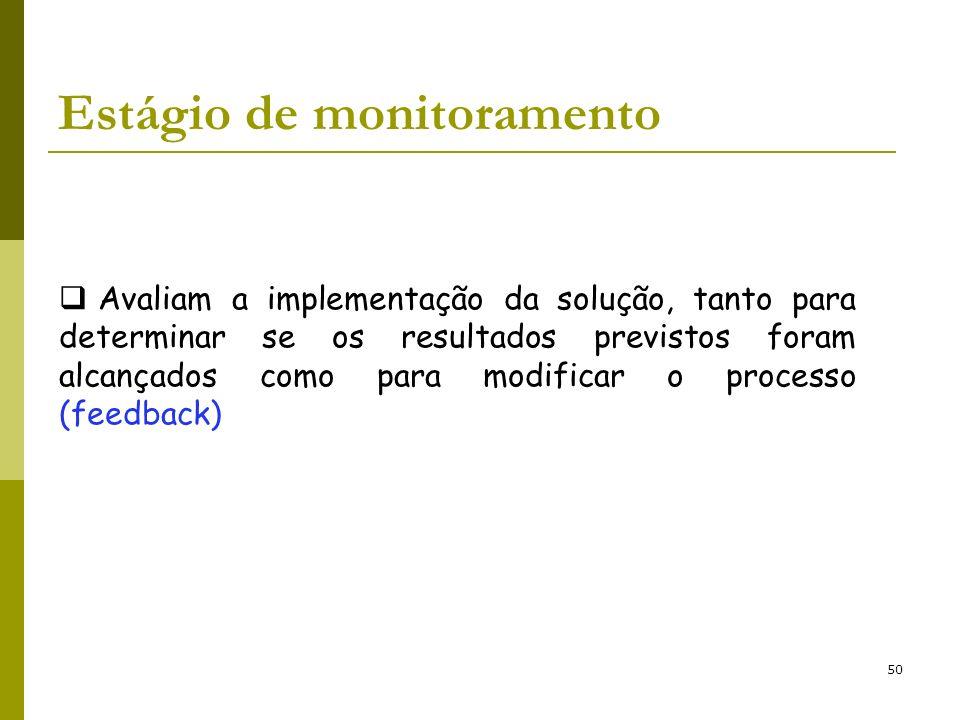 50 Estágio de monitoramento Avaliam a implementação da solução, tanto para determinar se os resultados previstos foram alcançados como para modificar