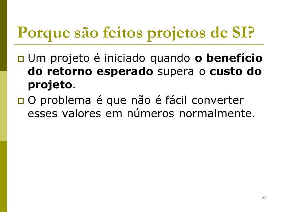 67 Porque são feitos projetos de SI? Um projeto é iniciado quando o benefício do retorno esperado supera o custo do projeto. O problema é que não é fá