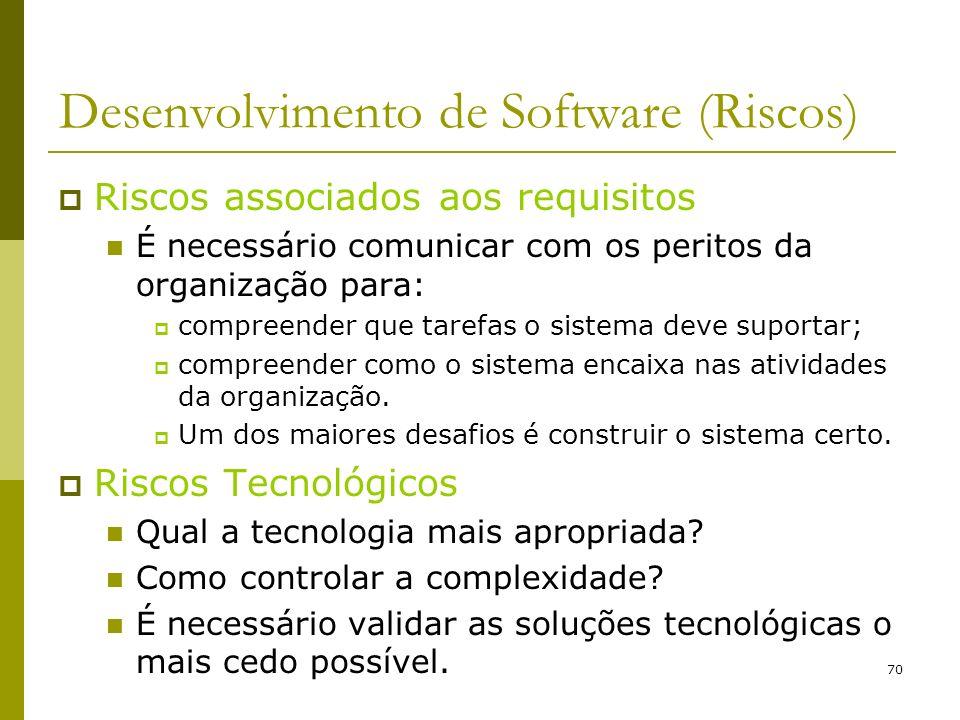 70 Desenvolvimento de Software (Riscos) Riscos associados aos requisitos É necessário comunicar com os peritos da organização para: compreender que ta