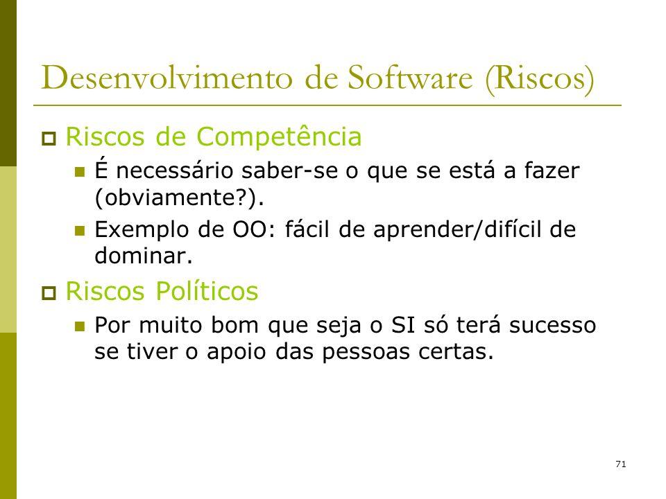 71 Desenvolvimento de Software (Riscos) Riscos de Competência É necessário saber-se o que se está a fazer (obviamente?). Exemplo de OO: fácil de apren