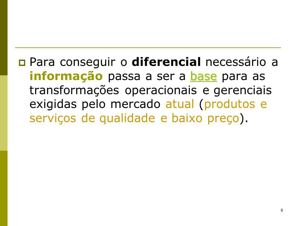 8 base Para conseguir o diferencial necessário a informação passa a ser a base para as transformações operacionais e gerenciais exigidas pelo mercado