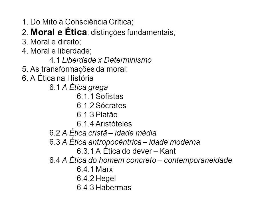 1. Do Mito à Consciência Crítica; 2. Moral e Ética : distinções fundamentais; 3. Moral e direito; 4. Moral e liberdade; 4.1 Liberdade x Determinismo 5
