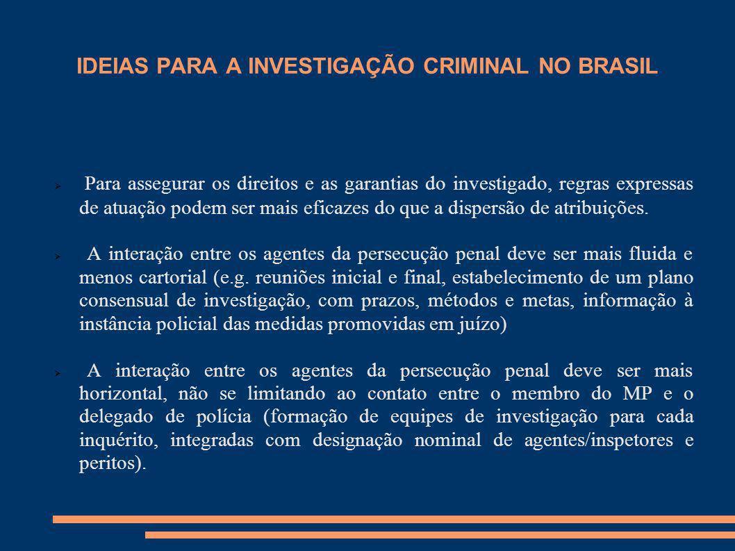 IDEIAS PARA A INVESTIGAÇÃO CRIMINAL NO BRASIL Para assegurar os direitos e as garantias do investigado, regras expressas de atuação podem ser mais efi