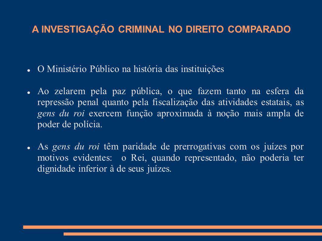 A INVESTIGAÇÃO CRIMINAL NO DIREITO COMPARADO O Ministério Público na história das instituições Ao zelarem pela paz pública, o que fazem tanto na esfer