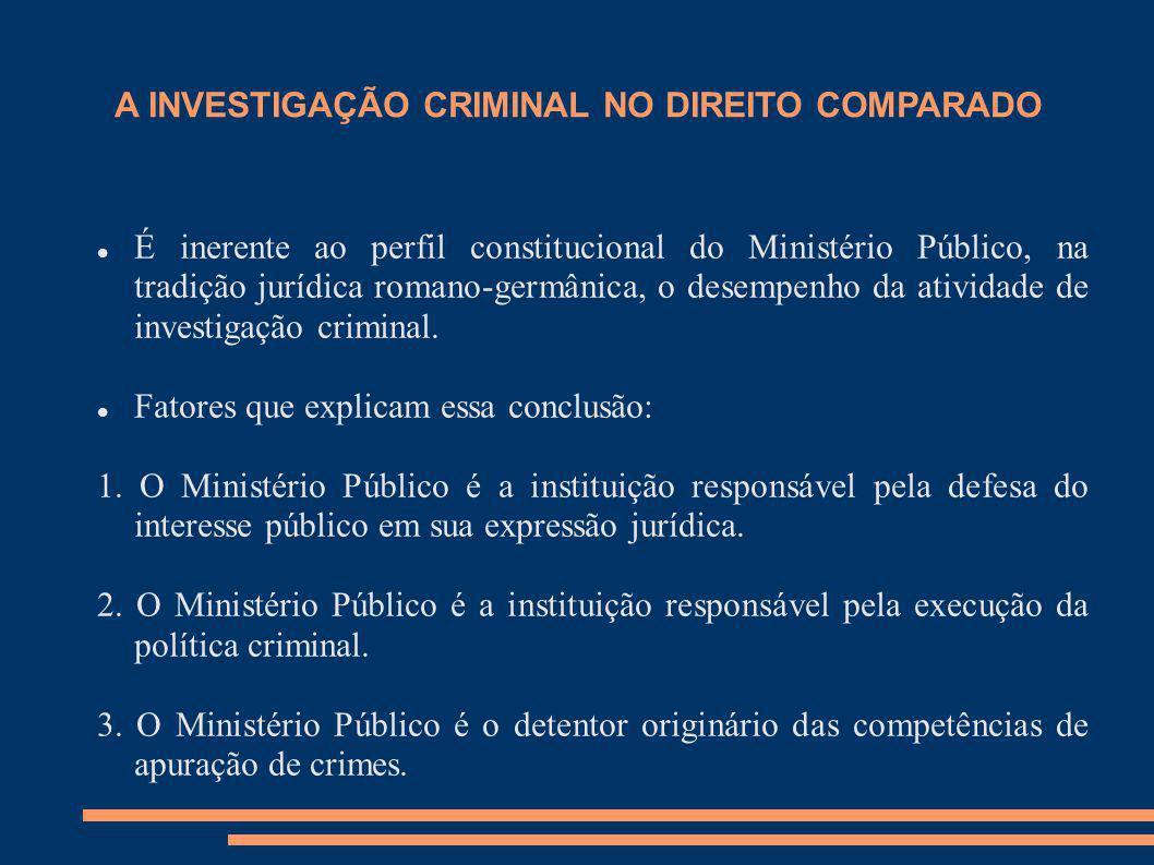 A INVESTIGAÇÃO CRIMINAL NO DIREITO COMPARADO É inerente ao perfil constitucional do Ministério Público, na tradição jurídica romano-germânica, o desem