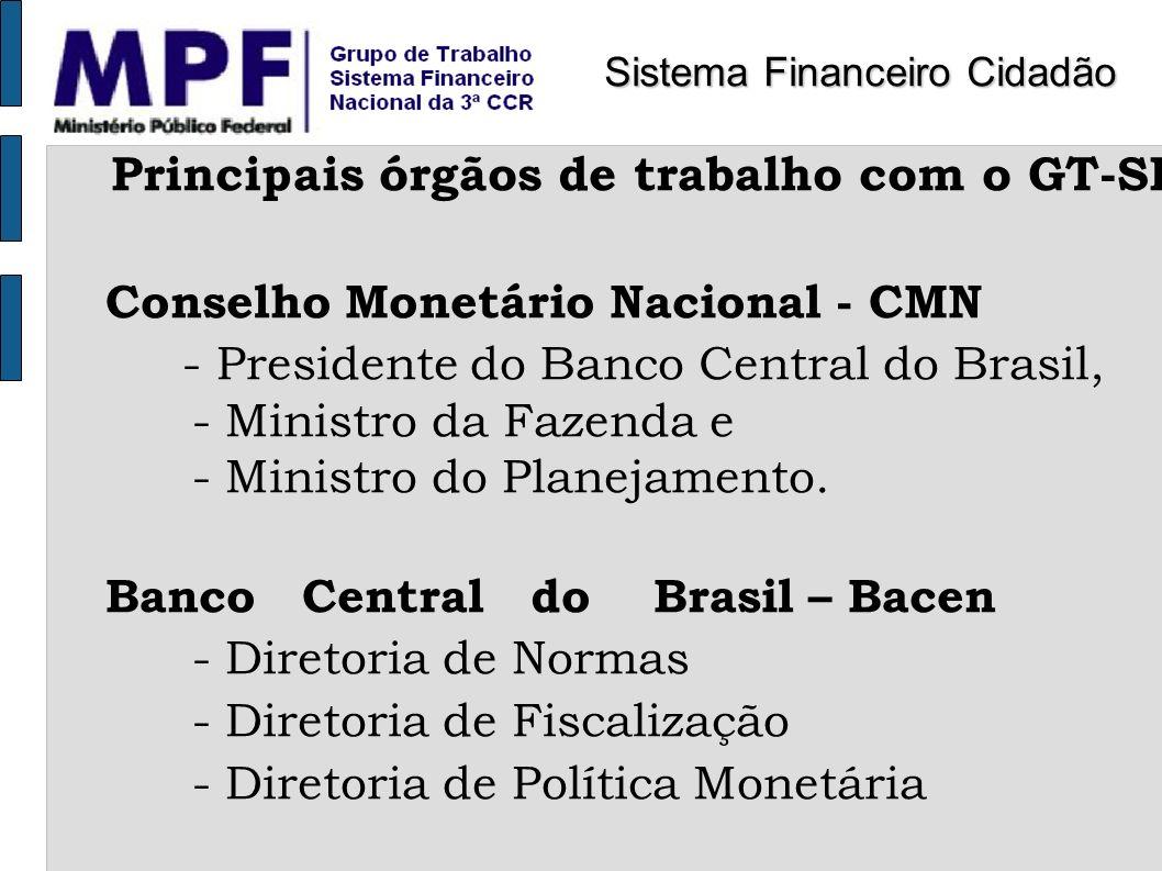 Principais órgãos de trabalho com o GT-SFN Conselho Monetário Nacional - CMN - Presidente do Banco Central do Brasil, - Ministro da Fazenda e - Minist