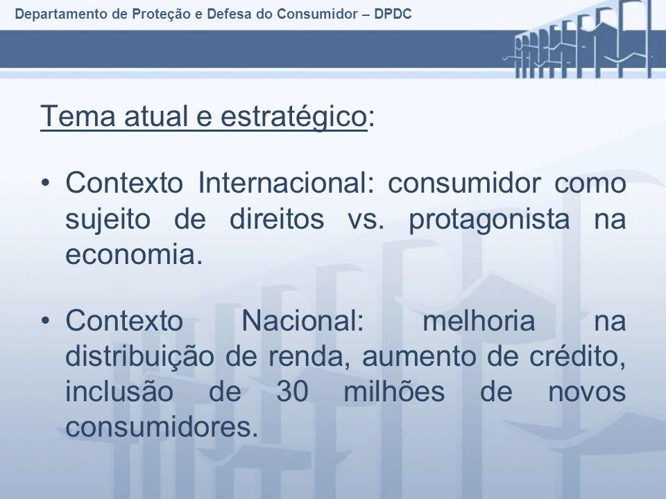 Departamento de Proteção e Defesa do Consumidor – DPDC Tema atual e estratégico: Contexto Internacional: consumidor como sujeito de direitos vs.