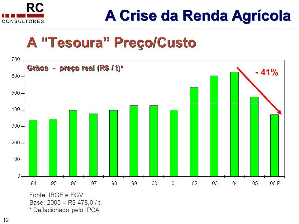 12 A Tesoura Preço/Custo Grãos - preço real (R$ / t)* Fonte: IBGE e FGV Base: 2005 = R$ 478,0 / t * Deflacionado pelo IPCA 0 100 200 300 400 500 600 700 94959697989900010203040506 P - 41% A Crise da Renda Agrícola
