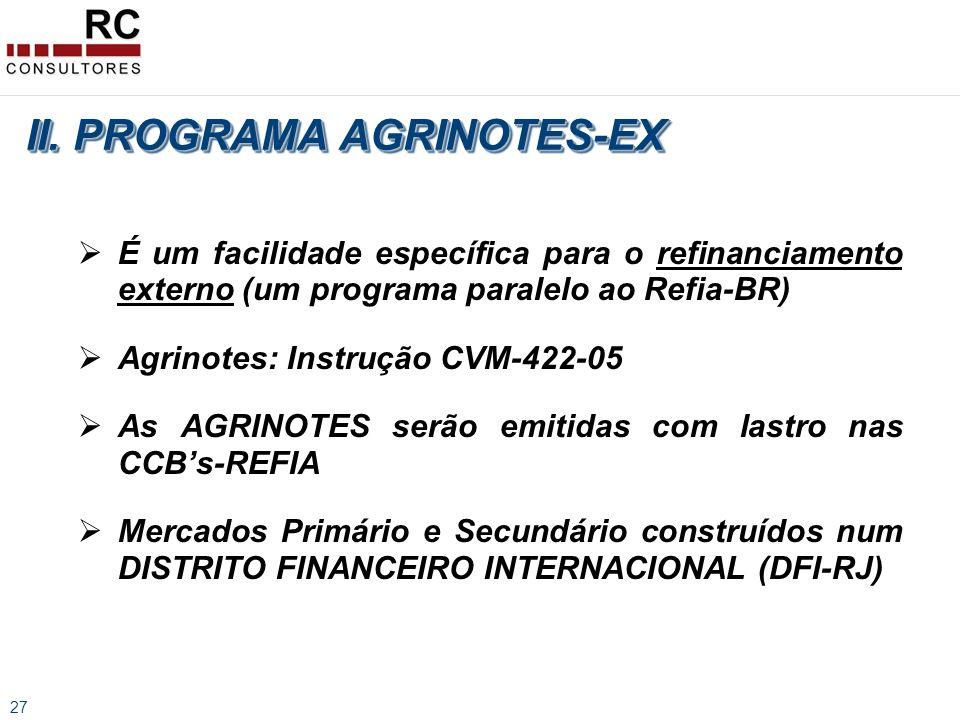 27 É um facilidade específica para o refinanciamento externo (um programa paralelo ao Refia-BR) Agrinotes: Instrução CVM-422-05 As AGRINOTES serão emitidas com lastro nas CCBs-REFIA Mercados Primário e Secundário construídos num DISTRITO FINANCEIRO INTERNACIONAL (DFI-RJ) II.