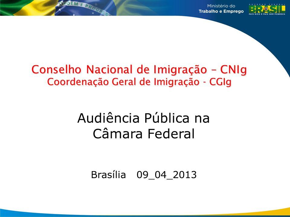 Conselho Nacional de Imigração – CNIg Coordenação Geral de Imigração - CGIg Audiência Pública na Câmara Federal Brasília 09_04_2013