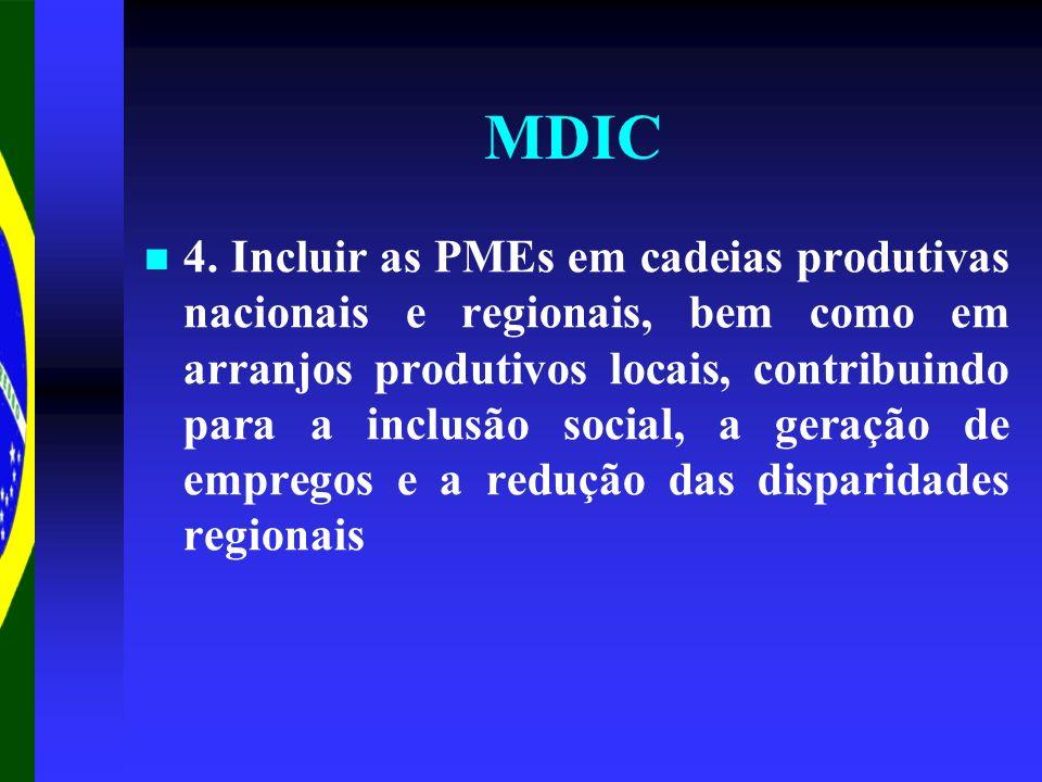 MDIC 4. Incluir as PMEs em cadeias produtivas nacionais e regionais, bem como em arranjos produtivos locais, contribuindo para a inclusão social, a ge