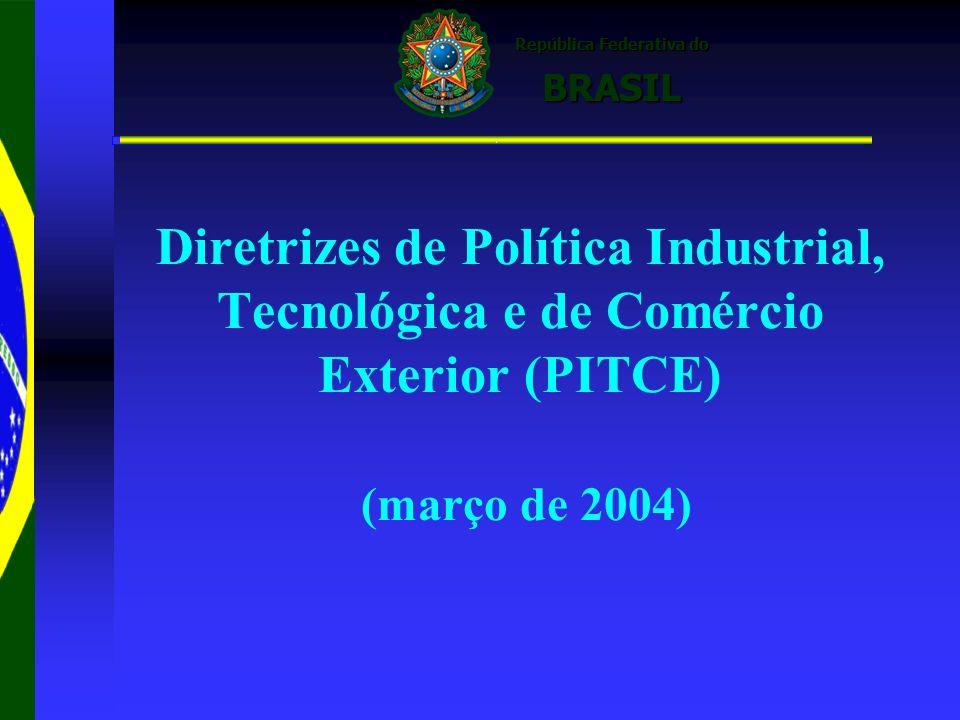 República Federativa do República Federativa do BRASIL BRASIL Diretrizes de Política Industrial, Tecnológica e de Comércio Exterior (PITCE) (março de