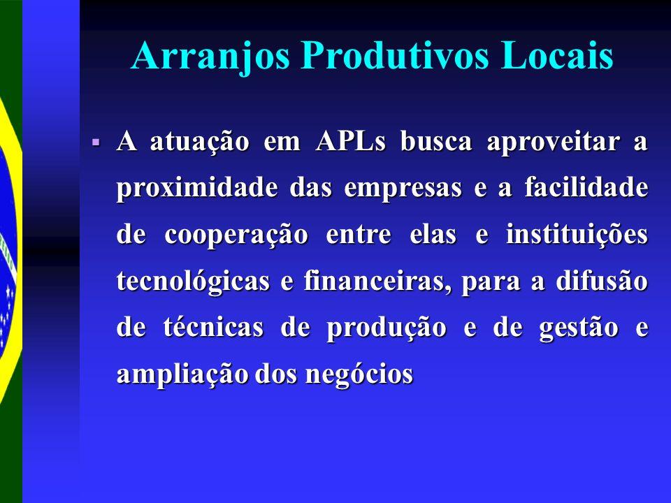 Arranjos Produtivos Locais A atuação em APLs busca aproveitar a proximidade das empresas e a facilidade de cooperação entre elas e instituições tecnol